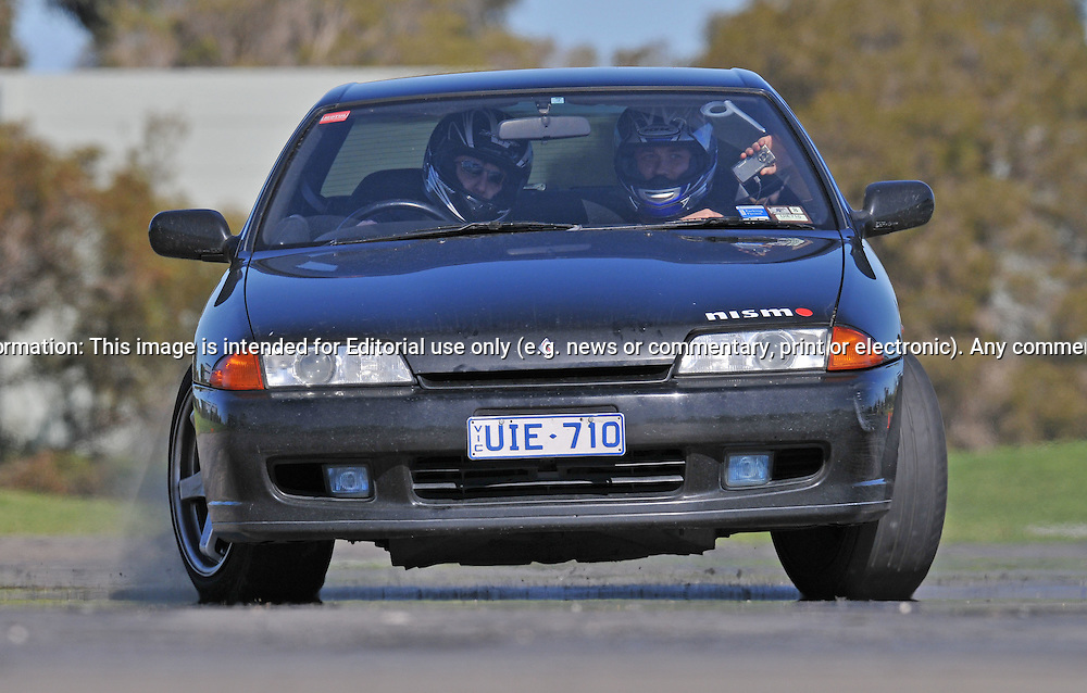 Patrick Antoskiewicz..Nissan Skyline R32 GTST.SAU Deca Motorkhana sponsored by Micolour.Shepparton, Victoria .15th of August 2009.(C) Joel Strickland Photographics.Use information: This image is intended for Editorial use only (e.g. news or commentary, print or electronic). Any commercial or promotional use requires additional clearance.