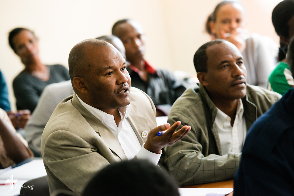 A student assists in a discussion as the Rev. Dr. Alan Ludwig, a theological educator serving as a missionary in Siberia, Russia, teaches class Thursday, Nov. 13, 2014, at Mekane Yesus Seminary in Addis Ababa, Ethiopia. LCMS Communications/Erik M. Lunsford