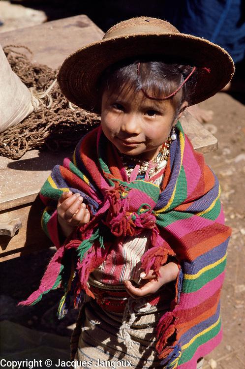Little Maya girl of Todos Santos Cuchumatanes village, Cuchumatanes Mountains, Huehuetenango Department, Guatemala, Central America