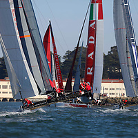 Practice session action   at the America's Cup World Series in San Francisco. Mandatory Credit: Dinno Kovic