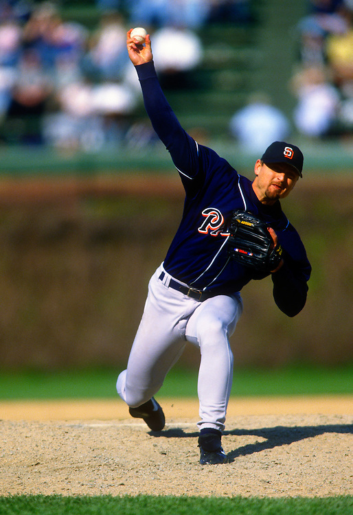 CHICAGO - 1997:  Trevor Hoffman of the San Diego Padres  pitches during an MLB game against the Chicago Cubs at Wrigley Field in Chicago, Illinois.  Hoffman pitched for the Padres from 1993-2008. (Photo by Ron Vesely)