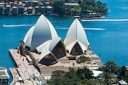 The Sydney Opera House photographed from a corporate office overlooking it.