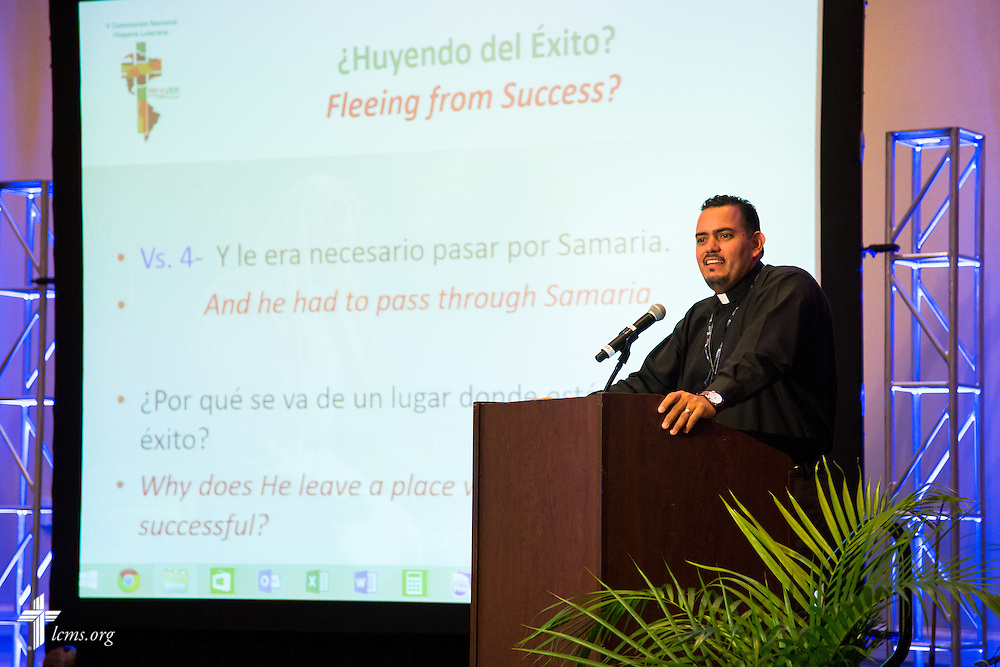 """The Rev. Lincon Guerra, pastor of Shepherd of the Valley Lutheran Church in West Des Moines, Iowa., speaks during the 5th Hispanic National Convention, """"¡Come and See!: Celebrating Our Gifts,"""" on Thursday, July 30, 2015, at the Grand Hyatt Tampa Bay in Tampa, Fla. LCMS Communications/Pamela Nielsen"""