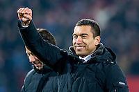 ROTTERDAM - Feyenoord - AZ , Voetbal , Seizoen 2015/2016 , Halve finales KNVB Beker , Stadion de Kuip , 03-03-2016 ,  Giovanni van Bronckhorst is enorm blij me deze overwinning en krijgt de support van de fans