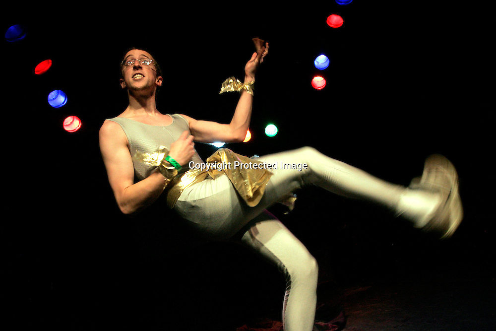 Jeff 'Dance Commander' Pisch performs during the regional finals of the US Air Guitar Champions in New York March 2, 2006. The winner of the contest goes on to the national championship for a chance to represent America in the world championship in Finland.