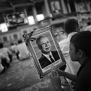 Cambodians gather to offer prayers for former Cambodia King Norodom Sihanouk.<br /> Sihanouk died in Bejing, China in Ocotber of 2012 and is Buddhist custom funeral services were held 100 days later.