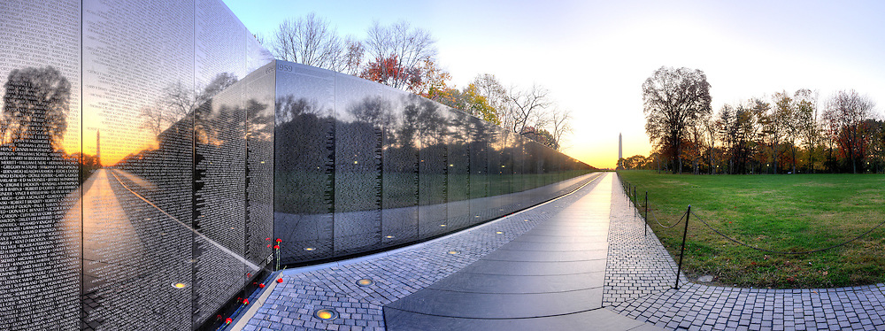 Panoramic Photograph of Vietnam Veterans Memorial, Washington, DC.  Print Size (in inches): 15x5; 24x9; 36x14; 48x18; 60x22.5; 72x27.