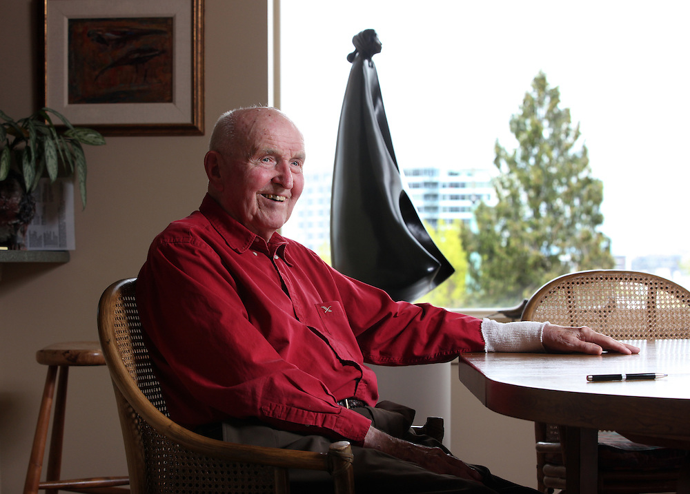 John Gray was born 92 years ago and grew up poor in rural Oregon. He made a fortune in the chainsaw industry after World War II, and now he has donated more than a million dollars to Habitat for Humanity to buy land in Portland for low-income housing. Wednesday, May 2, 2012.