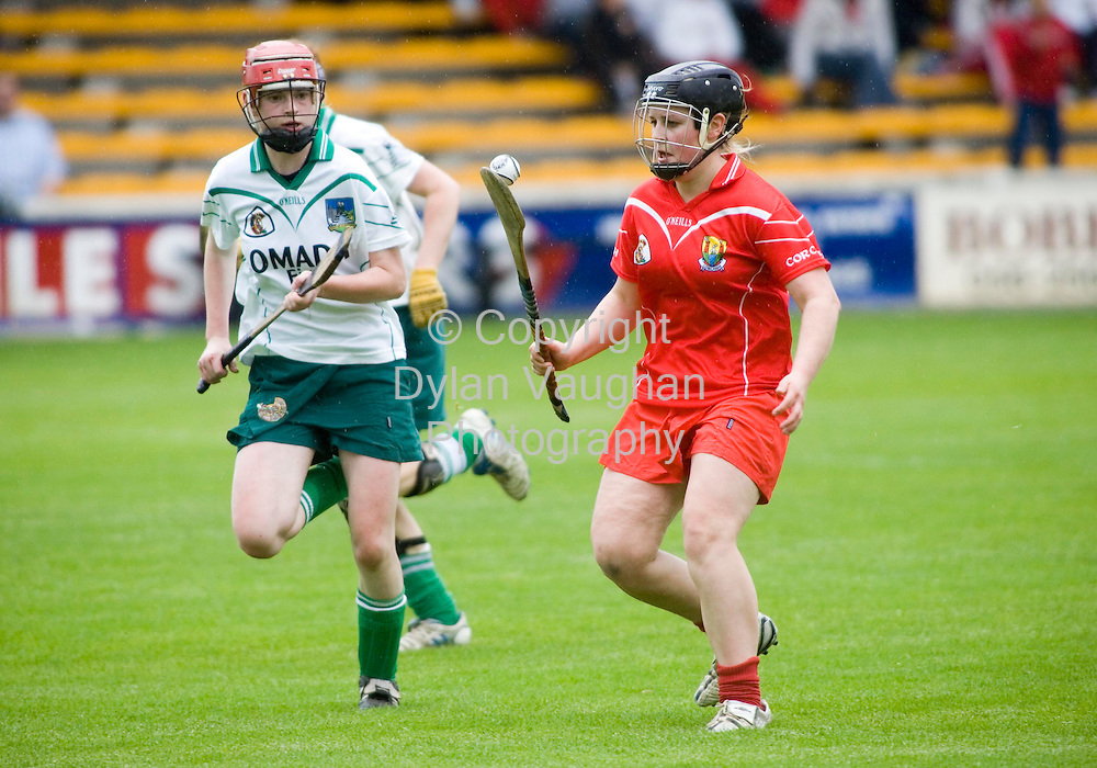 6/5/2007.Pictured in action at the Cork V Limerick match in Nowlan Park in Kilkenny yesterday was Corks Michelle Brown and Limericks Niamh Mulcahy..Picture Dylan Vaughan.