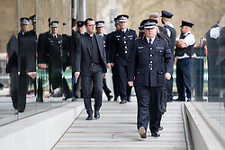 © Licensed to London News Pictures. 29/03/2017. London, UK. Deputy Commissioner CRAIG MACKEY (front) stands with colleagues. Police gather around New Scotland Yard one week after a terror attack in Westminster, when attacker Khalid Masood drove a car into pedestrians on Westminster Bridge, and murdered police officer Keith Palmer. Photo credit : Tom Nicholson/LNP