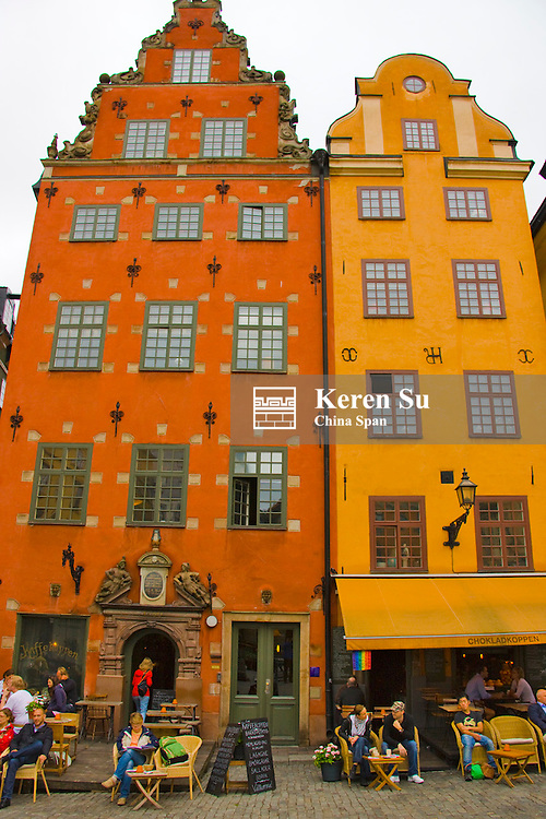 Row houses in the old town, Gamala Stan, Stockholm, Sweden
