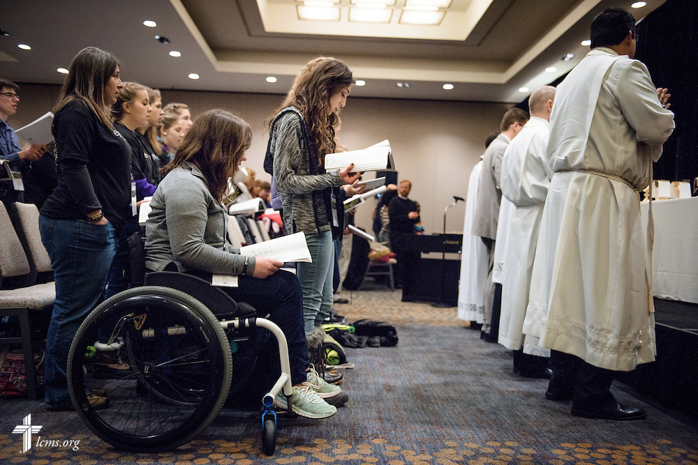 Erin Kline of Concordia University Wisconsin, Mequon, Wis., joins fellow students as they worship on Friday, Jan. 27, 2017, in Arlington, Va. LCMS Communications/Erik M. Lunsford