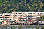 Water Village in Kampung Buli Sim Sim in front of apartment blocks, Sandakan, Sabah