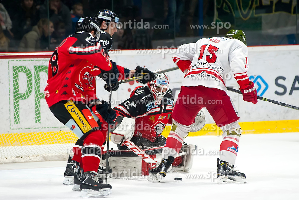 28.12.2015, Ice Rink, Znojmo, CZE, EBEL, HC Orli Znojmo vs HCB Suedtirol, 36. Runde, im Bild v.l. Corey Trivino (HC Orli Znojmo) Marek Biro (HC Orli Znojmo) Patrik Nechvatal (HC Orli Znojmo) Brodie Reid (HCB Sudtirol) // during the Erste Bank Icehockey League 36nd round match between HC Orli Znojmo and HCB Suedtirol at the Ice Rink in Znojmo, Czech Republic on 2015/12/28. EXPA Pictures © 2015, PhotoCredit: EXPA/ Rostislav Pfeffer