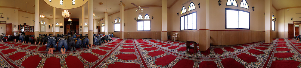 Palestinian rfugees praying at the mosque, Lebanon