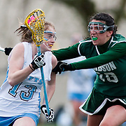 20110405 - Medford/Somerville, Mass. -  Tufts midfielder Casey Egan (A12) gets checked by a Babson defender at Bello Field on April 5, 2011. (Kelvin Ma/Tufts University)