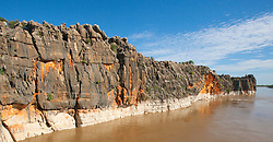 The stunning rocks formations at Geikie Gorge where the Fitzroy River cuts through an ancient Devonian Reef.