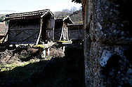 """Traditional granaries at Lazarim's village during the traditional Celtic carnival """"Caretos"""" in the village of Lazarim, central Portugal on February 17, 2015. PAULO CUNHA /4SEE"""