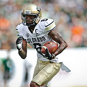 SHOT 9/1/13 4:10:53 PM - Colorado's Paul Richardson #6 runs for a touchdown on an 82 yard pass completion against Colorado State  during the 2013 Rocky Mountain Showdown at Sports Authority Field at MiIe HIgh Stadium in Denver, Co. Colorado won the annual in-state rivalry 41-27. (Photo by Marc Piscotty / © 2013)