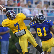 Gold Andre Connally (7) of Appoquinimink High School attempts to catch a pass as Blue's George Murray (81) of Caravel Academy defends in the first quarter of the 58th Annual DFRC Blue-Gold All?Star Football game Saturday, June. 22, 2013, at Delaware Stadium in Newark DE.