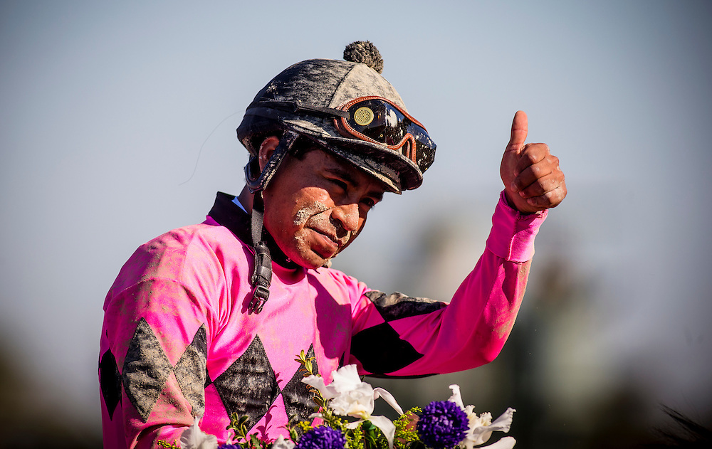 Martin Garcia celebrates a win in the Breeders Cup Juvenile November 2, 2013 at Santa Anita Park in Arcadia, California during the 30th running of the Breeders' Cup.(Alex Evers/ Eclipse Sportswire)