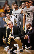 SHOT 2/26/11 4:58:31 PM - Colorado head basketball coach Tad Boyle on the sidelines coaching against Texas during their regular season Big 12 basketball game at the Coors Events Center in Boulder, Co. Colorado upset the fifth ranked Texas 91-89. (Photo by Marc Piscotty / © 2011)