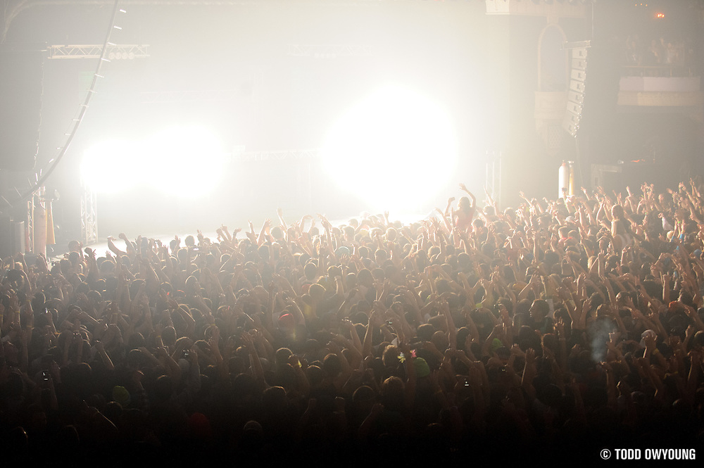 Skrillex performing at The Rave in Milwaukee, Wisconsin on January 1, 2012.