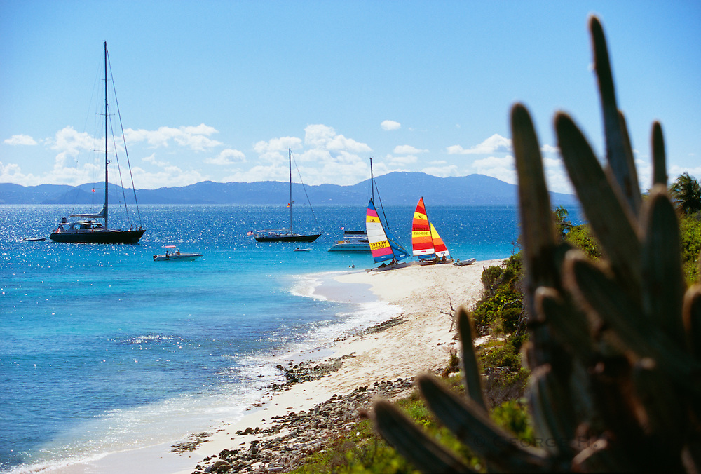 356202-1037 ~ Copyright:  George H. H. Huey ~ Boats at anchor and on the beach at Sandy Cay, a small island owned and protected by Laurence Rockefeller, and open to the public for beach use and hiking.  British Virgin Islands. Caribbean.