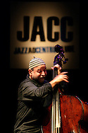 """French bass player Henri Texier during a performance of the Romano/Sclavis/Texier Trio.  """"Jazz ao Centro"""" jazz festival is held twice a year in portuguese town of Coimbra."""