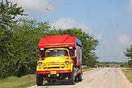 Yellow truck in Jiguani, Granma, Cuba.