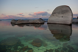 """Tahoe Boulders at Sunrise 5"" - These boulders were photographed at sunrise near Speedboat Beach, Lake Tahoe."