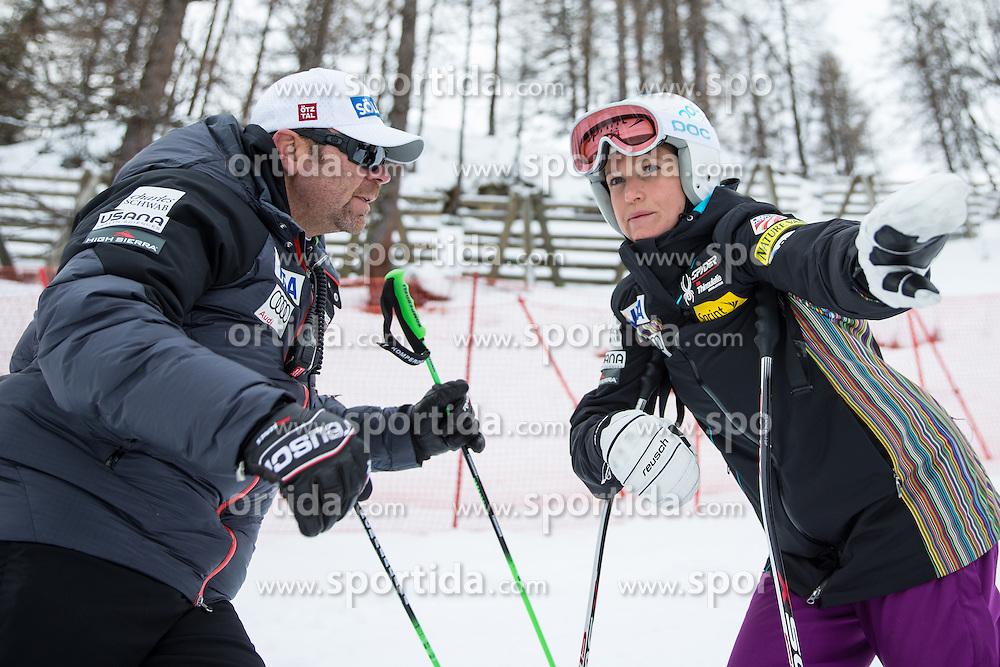 11.01.2014, Kalberloch, Zauchensee, AUT, FIS Ski Weltcup, Abfahrt, Damen, Streckenbesichtigung, im Bild Patrick Riml (Cheftrainer US Ski Team), Julia Mancuso (USA) // Patrick Riml (Headcoach US Skiteam) and Julia Mancuso of the USA during course inspection of ladies downhill of the Altenmarkt Zauchnesee FIS Ski Alpine World Cup at the Kaelberloch course in Zauchensee, Austria on 2014/01/11. EXPA Pictures © 2014, PhotoCredit: EXPA/ Johann Groder