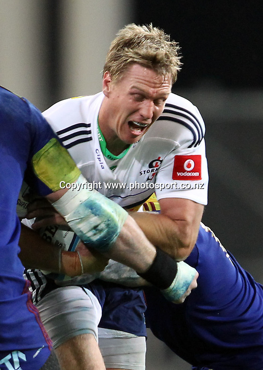 Jean de Villiers on the charge for the Stormers.<br /> Investec Super Rugby - Highlanders v Stormers, 7 April 2012, Forsyth Barr Stadium, Dunedin, New Zealand.<br /> Photo: Rob Jefferies / photosport.co.nz