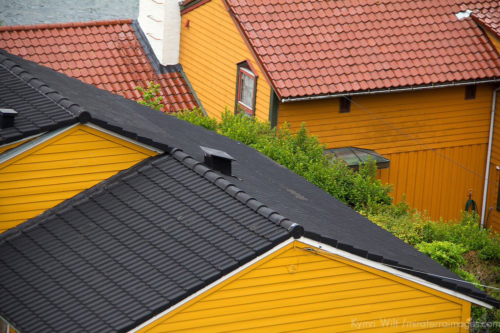 Europe, Norway, Bergen. Roofs of Bergen.