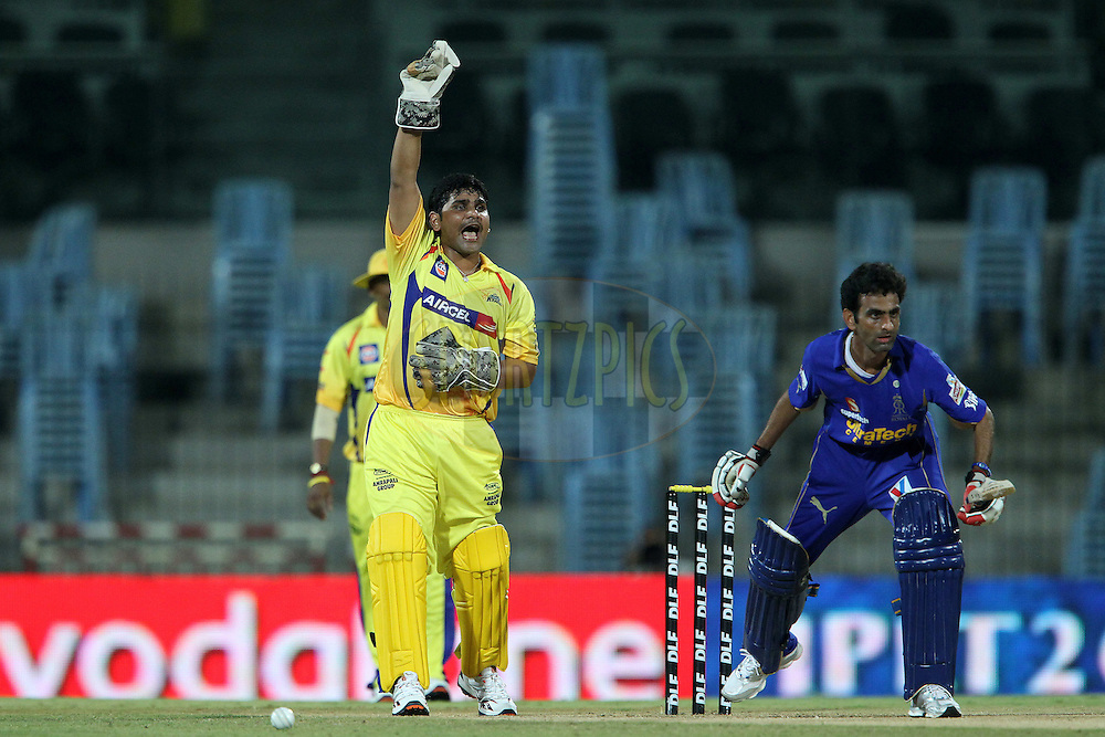 during match 26 of the the Indian Premier League ( IPL) 2012  between The Chennai Superkings and the Rajasthan Royals held at the M. A. Chidambaram Stadium, Chennai on the 21st April 2012..Photo by Ron Gaunt/IPL/SPORTZPICS