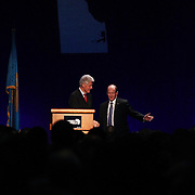 "Keynote Speaker President Bill Clinton and Senator Coons ""right"" walk of the stage after Clinton addresses the audience at Senator Coons Third annual Opportunity Africa conference Monday, Mar 10, 2014 at Chase Center on the Riverfront in Wilmington Delaware"