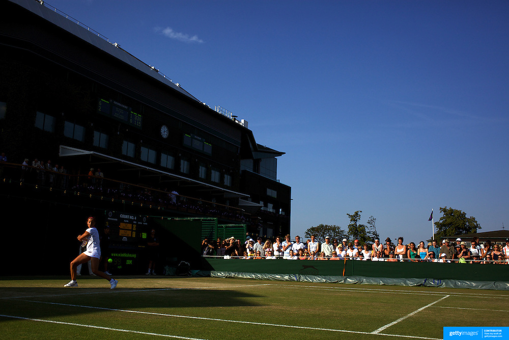 Laura Robson, Great Britain, in action against Sally Peers, Australia, in the Girls Singles Competition at the All England Lawn Tennis Championships at Wimbledon, London, England on Tuesday, June 30, 2009. Photo Tim Clayton..