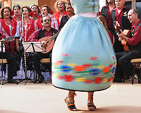 Girl dancing with a swirling dress to traditional Spanish Flamenco music and live singing, Andalucia, Spain.