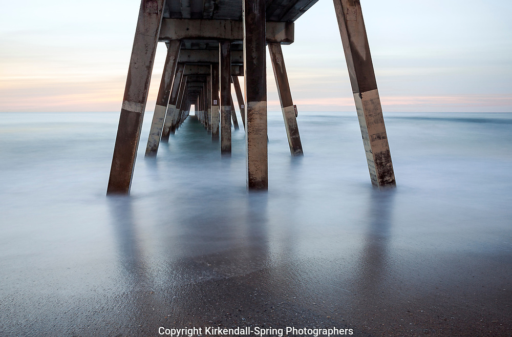 NC00930-00...NORTH CAROLINA - View of the suports under Johnney Mercer Pier on Wrightsville Beach.