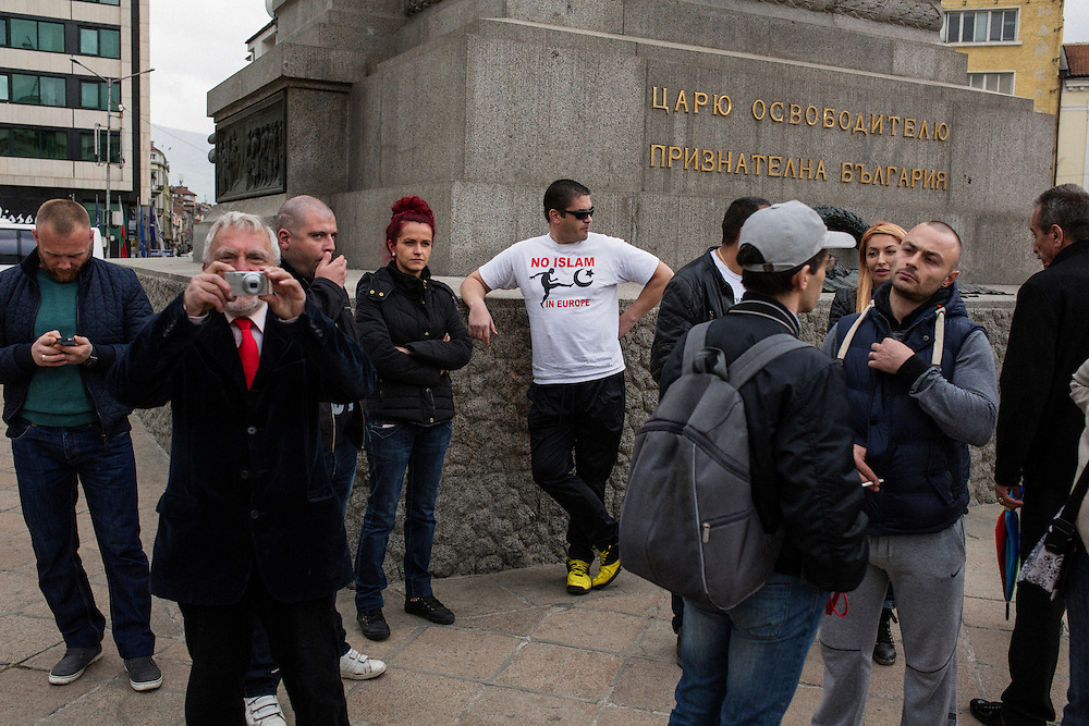 A rally that gave Dinko Valev a &quot;medal of honor&quot; in Sofia, Bulgaria. A man wearing a t-shirt reading &quot;No Islam in Europe&quot;.<br /> <br /> Matt Lutton / Boreal Collective for VICE