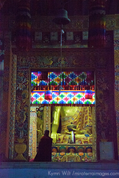 Asia, Bhutan, Thimpu. Monk at entry to Tashichhoedzong.