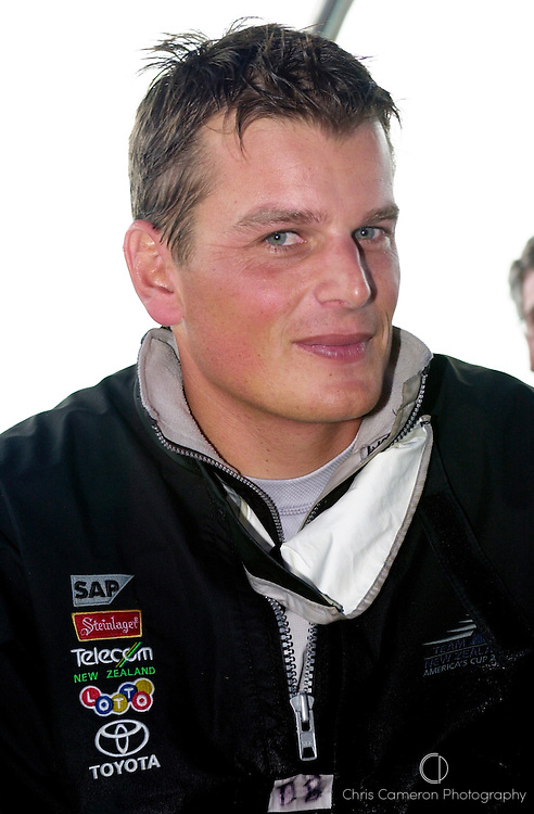 Dean Barker, Team New Zealand skipper after the second day of the International regatta. 12/2/2002 (© Chris Cameron 2002)