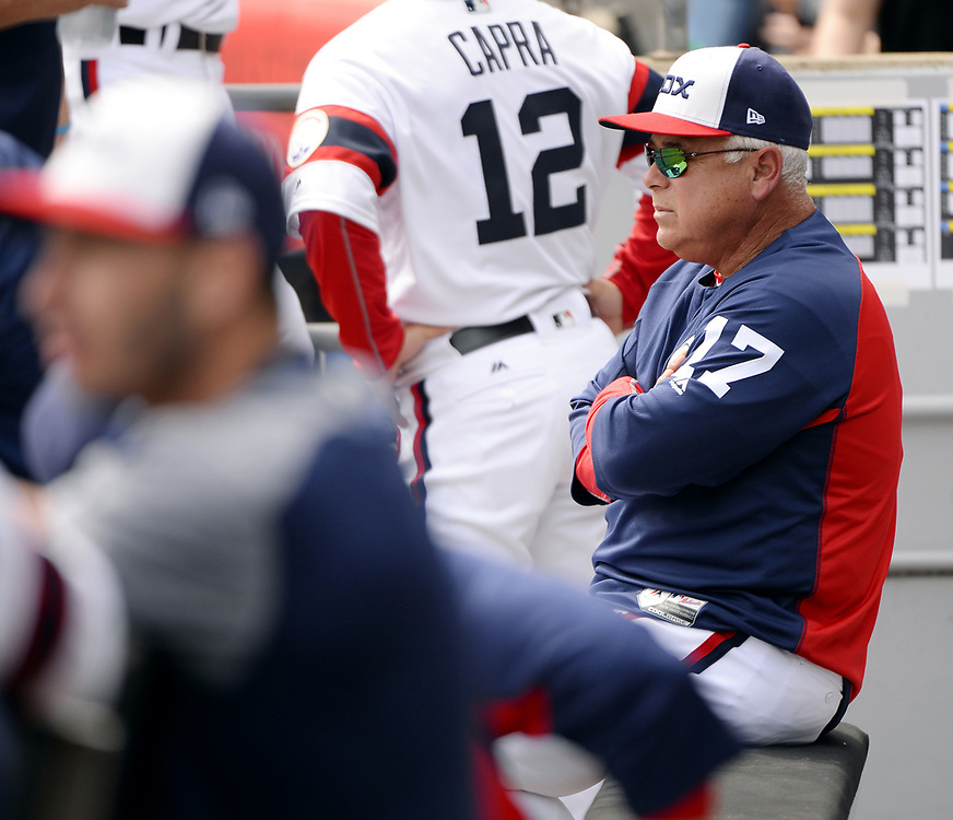 CHICAGO - APRIL 09:  Manager Rick REnteria #17 of the Chicago White Sox looks on during the game against the Minnesota Twins on April 9, 2017 at Guaranteed Rate Field in Chicago, Illinois.  (Photo by Ron Vesely)   Subject:  Rick Renteria
