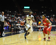 "Ole Miss' Terrance Henry (1) vs. Illinois State's Anthony Cousin (5) in a National Invitational Tournament game at the C.M. ""Tad"" Smith Coliseum in Oxford, Miss. on Wednesday, March 14, 2012. (AP Photo/Oxford Eagle, Bruce Newman)"