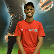 Gurpreet (santi) Singh (21) at the Reebok store. West End mall, Ludhiana, Punjab, India