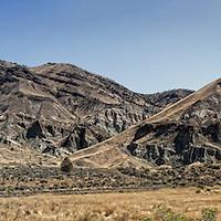 Panorama of Sheetrock mountain in eastern Oregon in the John Day wilderness.