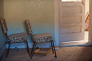 furniture in an abandoned home