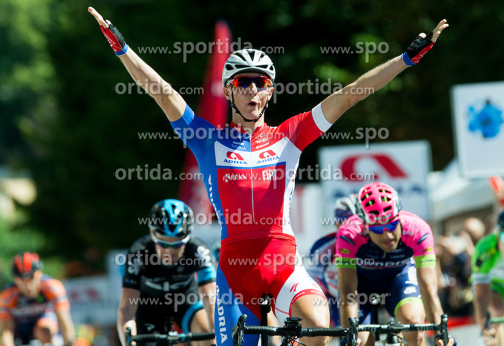 Winner Marko Kump (SLO) of Adria Mobil celebrates at finish line during Stage 4 of 22nd Tour of Slovenia 2015 from Rogaska Slatina to Novo mesto (165,5 km) cycling race  on June 21, 2015 in Slovenia. Photo by Vid Ponikvar / Sportida