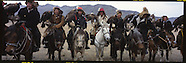MN702 Golden eagles hunters in Mongolia, panoramic