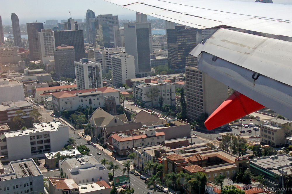 USA, California, San Diego. View from the plane approaching San Diego Lindberg Field Airport.